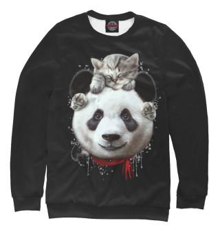 Мужской свитшот Панда и котенок