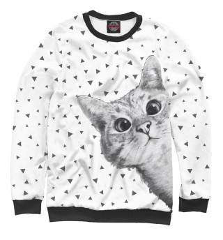 Женский свитшот Подглядывающий кот
