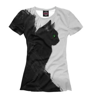 Женская футболка Чёрный кот