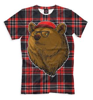 Мужская футболка Медведь в очках и бейсболке