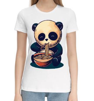 Женская хлопковая футболка Панда и вкусняшка