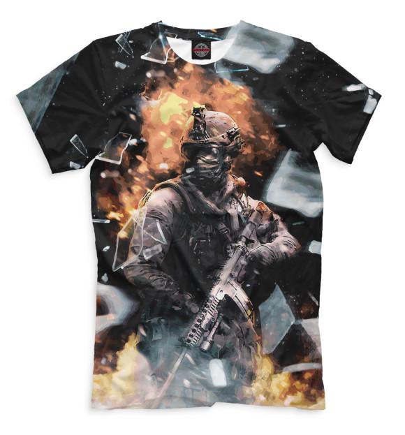 Мужская футболка с изображением Modern Warfare цвета Черный