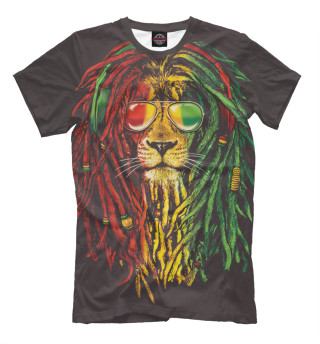 Мужская футболка Лев с дредами