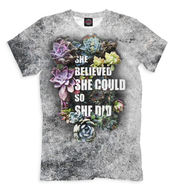 Мужская футболка с изображением She Believed She Could So She Did цвета Серый