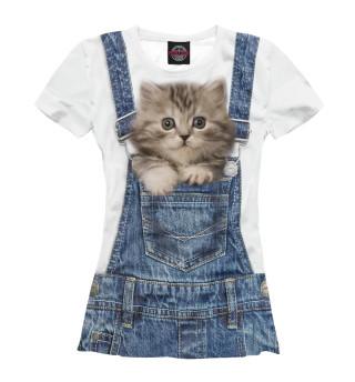 Женская футболка Котенок в кармашке