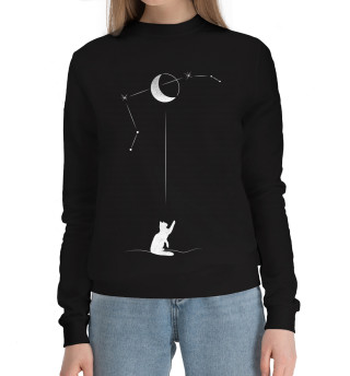 Женский хлопковый свитшот Черный кот