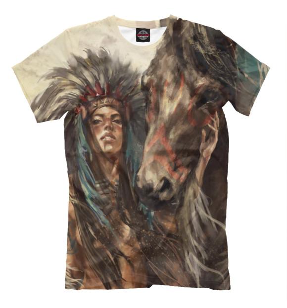 Мужская футболка с изображением Индейская воительница цвета Молочно-белый