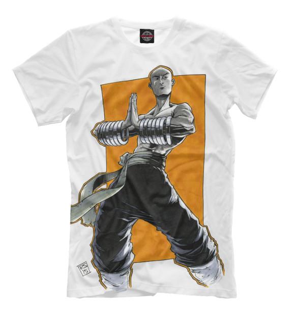 Мужская футболка с изображением Shaolin цвета Молочно-белый