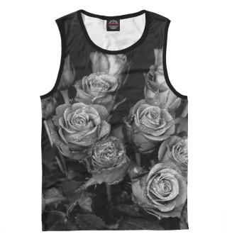 Мужская майка Черно-белые розы