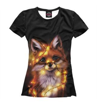 Женская футболка Новогодний лисёнок