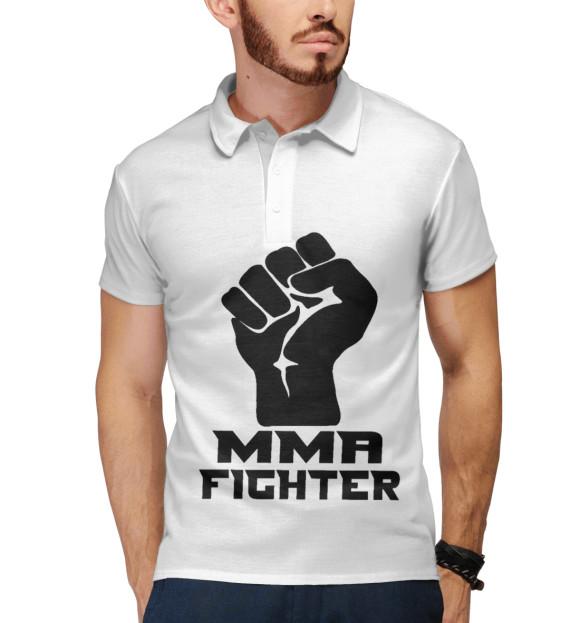 Мужское поло с изображением MMA Fighter цвета Белый