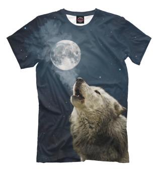 Мужская футболка Одинокий вой в ночи