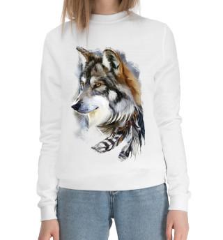 Женский хлопковый свитшот Волк с пером
