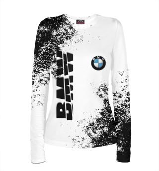 Женский лонгслив BMW | БМВ разрезанное лого