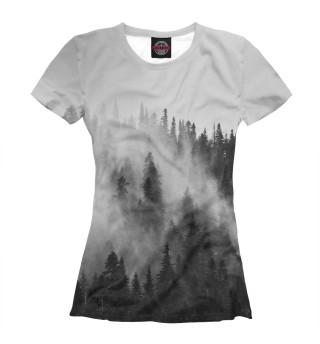 Женская футболка Лес и туман