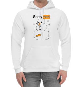 Мужской хлопковый худи Снеговик
