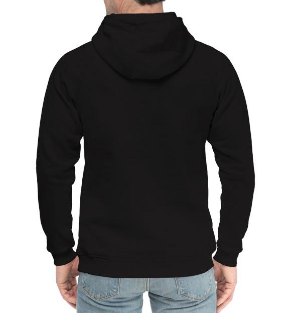 Мужской хлопковый худи с изображением Череп-джокер цвета Черный
