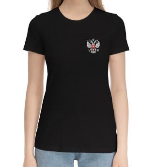 Женская хлопковая футболка Камуфляж с гербом