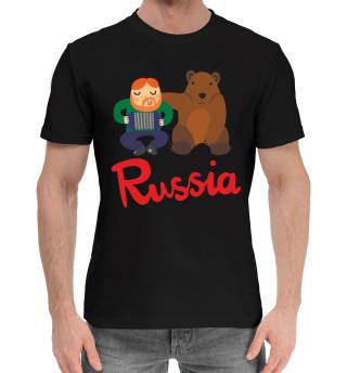 Мужская хлопковая футболка Медведь и гармонист