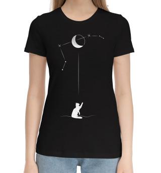 Женская хлопковая футболка Черный кот