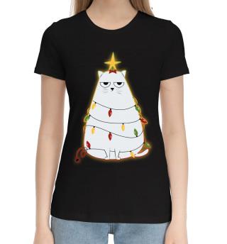 Женская хлопковая футболка Cute christmas cat