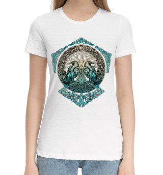 Женская хлопковая футболка Вороны Одина