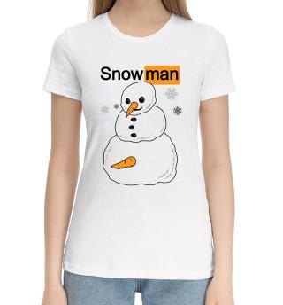 Женская хлопковая футболка Снеговик