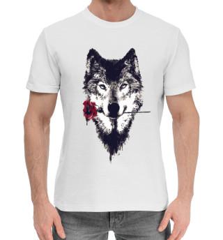 Мужская хлопковая футболка Волк с розой
